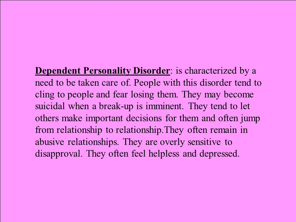 PERSONALITY DISORDERS Cluster A: Odd, Eccentric Group