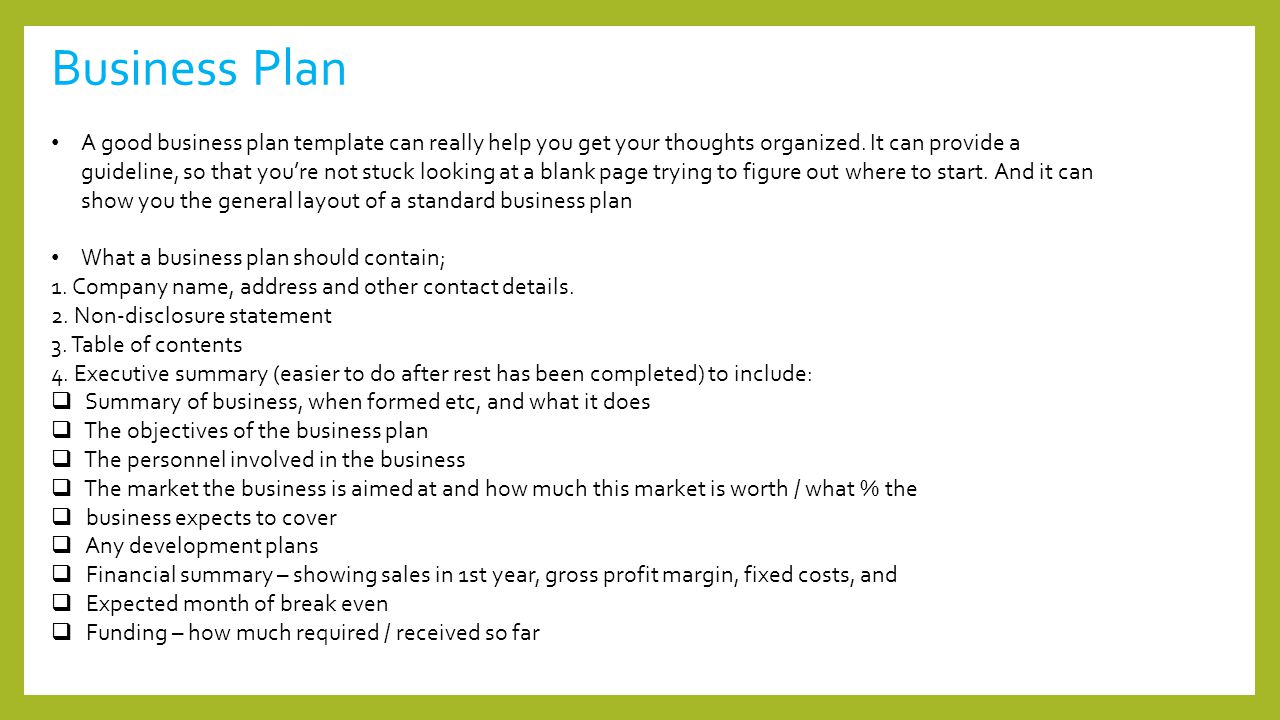 Standard Business Plan Template Selol Ink