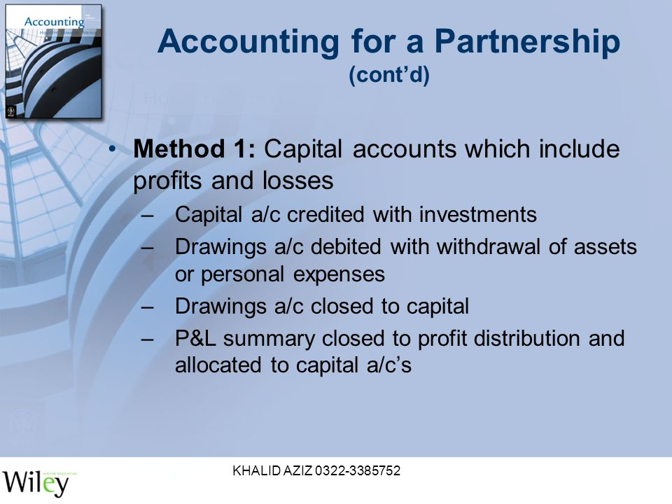 KHALID AZIZ Accounting for a Partnership (cont'd) Method 1: Capital accounts which include profits and losses –Capital a/c credited with investments –Drawings a/c debited with withdrawal of assets or personal expenses –Drawings a/c closed to capital –P&L summary closed to profit distribution and allocated to capital a/c's