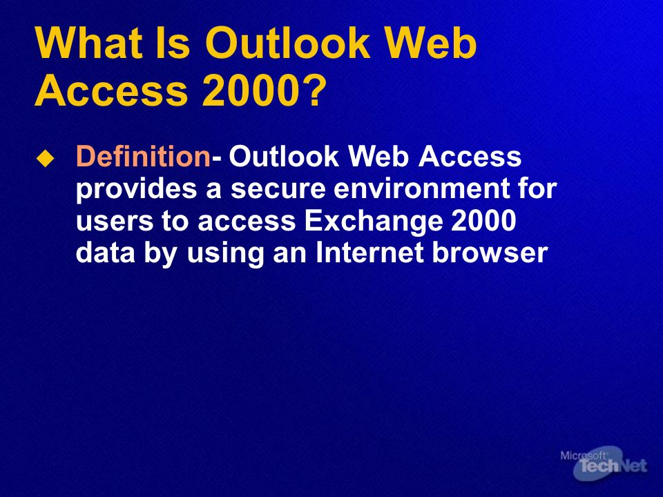 What Is Outlook Web Access 2000.