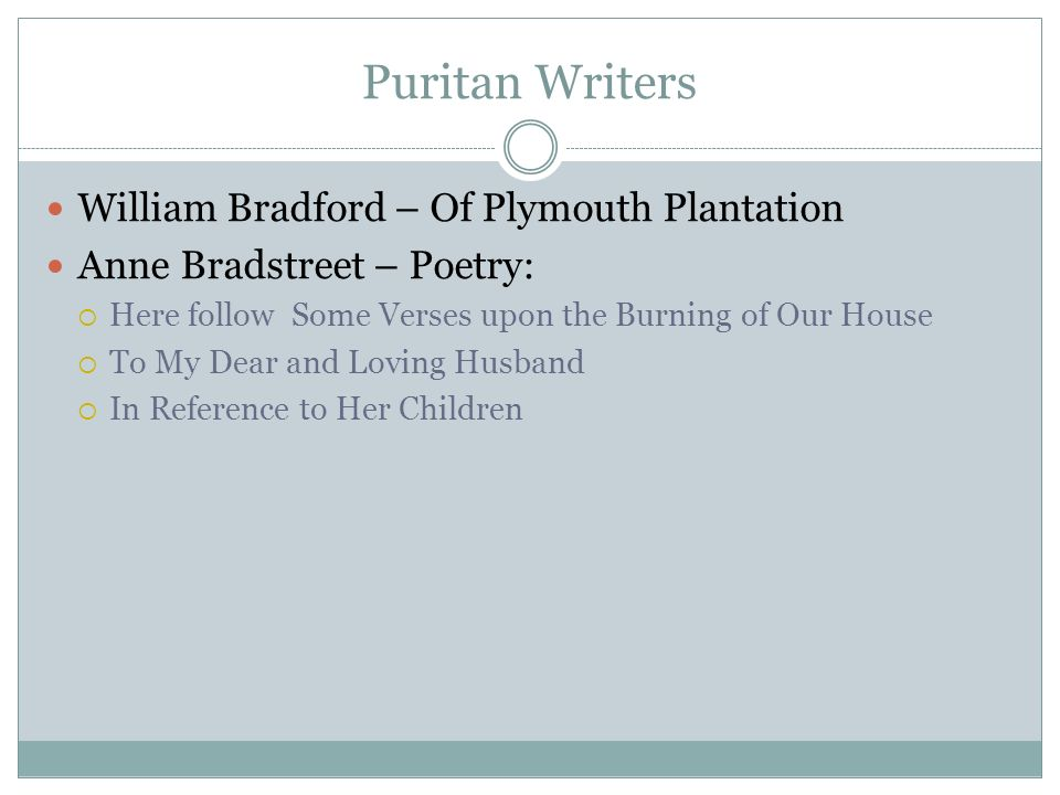 anne bradstreet upon the burning of our house essay Verses upon the burning of our house saved essays verses upon the burning of our house, by anne bradstreet uses language reminiscent of the bible.