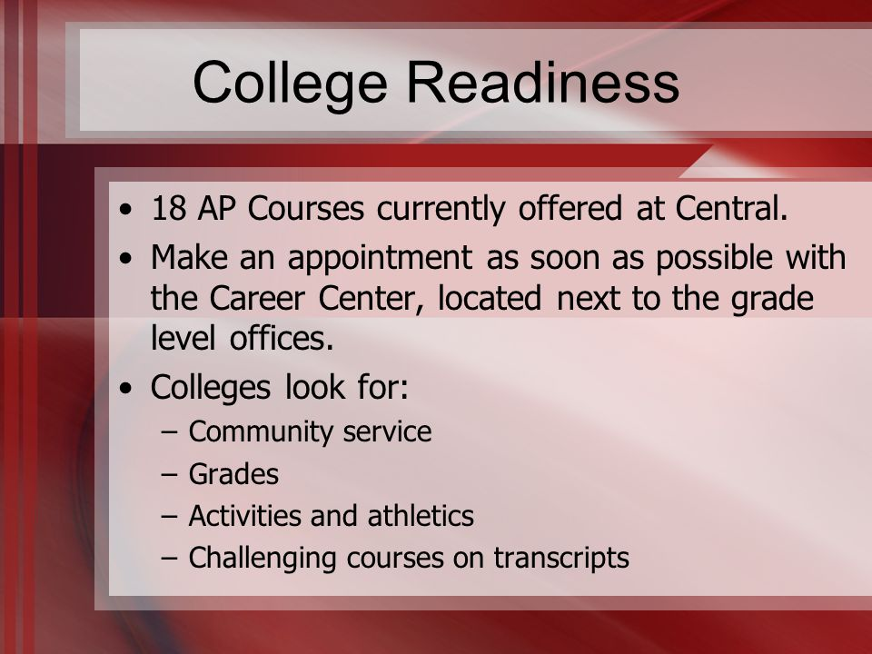 College Readiness 18 AP Courses currently offered at Central.