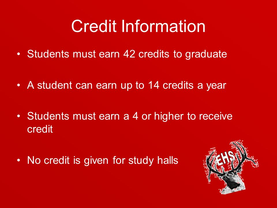 Credit Information Students must earn 42 credits to graduate A student can earn up to 14 credits a year Students must earn a 4 or higher to receive credit No credit is given for study halls