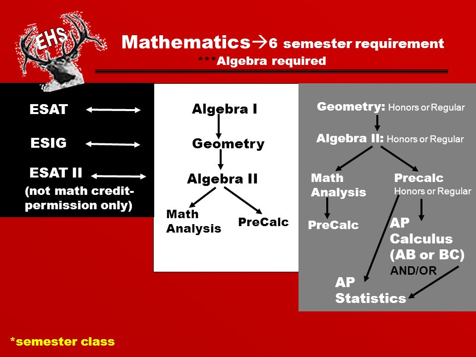 Mathematics  6 semester requirement ESAT ESIG (not math credit- permission only) Algebra I Geometry Algebra II PreCalc Math Analysis *semester class ***Algebra required ESAT II Geometry: Honors or Regular Algebra II: Honors or Regular Precalc Honors or Regular Math Analysis PreCalc AP Statistics AND/OR AP Calculus (AB or BC)