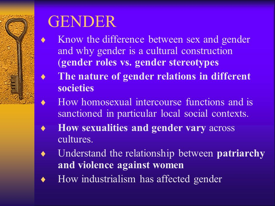 the difference between sex and gender What is the difference between sex and gender sex = male and female gender = masculine and feminine so in essence: sex refers to biological differences chromosomes, hormonal profiles, internal and external sex organs.