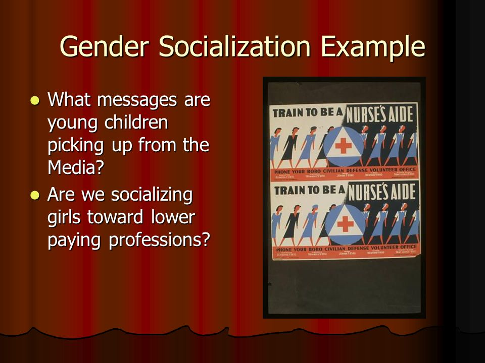 Gender Socialization Example What messages are young children picking up from the Media.