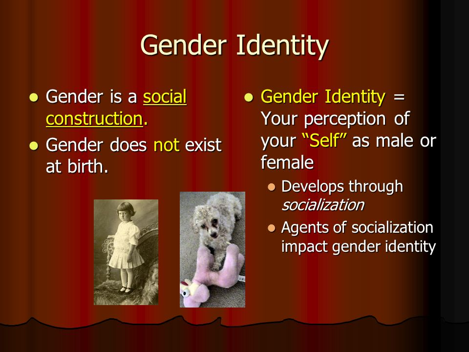 Gender Identity Gender is a social construction. Gender is a social construction.