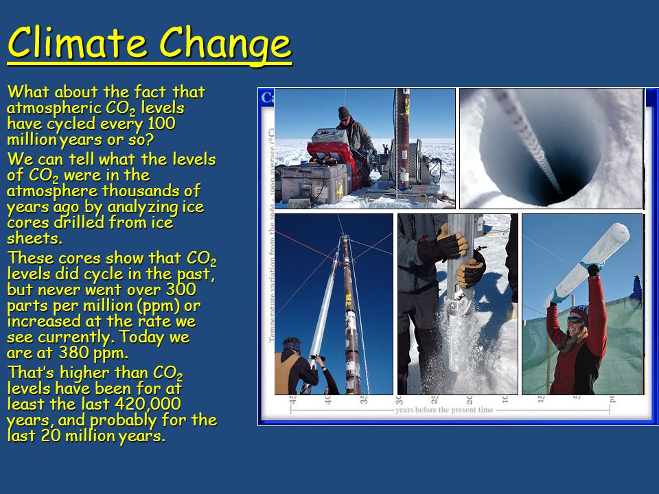 Climate Change What about the fact that atmospheric CO 2 levels have cycled every 100 million years or so.