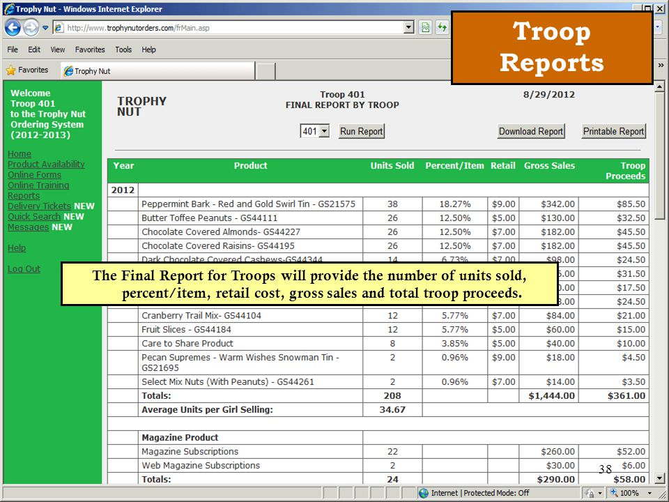 The Final Report for Troops will provide the number of units sold, percent/item, retail cost, gross sales and total troop proceeds.