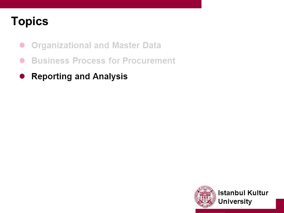 Istanbul Kultur University Topics Organizational and Master Data Business Process for Procurement Reporting and Analysis