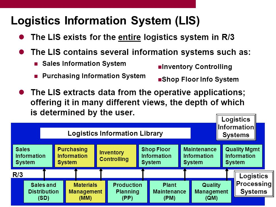 Logistics Information System (LIS) The LIS exists for the entire logistics system in R/3 The LIS contains several information systems such as: Sales Information System Purchasing Information System The LIS extracts data from the operative applications; offering it in many different views, the depth of which is determined by the user.