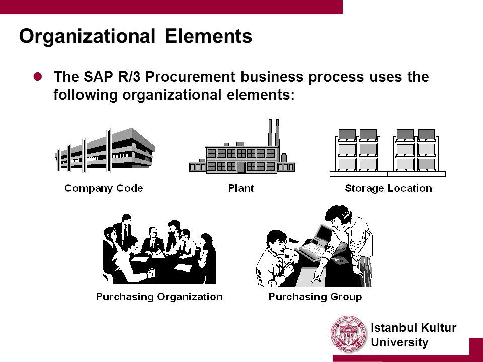 Istanbul Kultur University Organizational Elements The SAP R/3 Procurement business process uses the following organizational elements:
