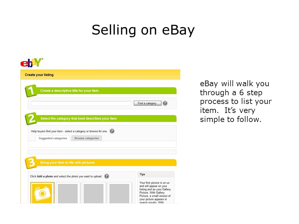 Selling on eBay eBay will walk you through a 6 step process to list your item.