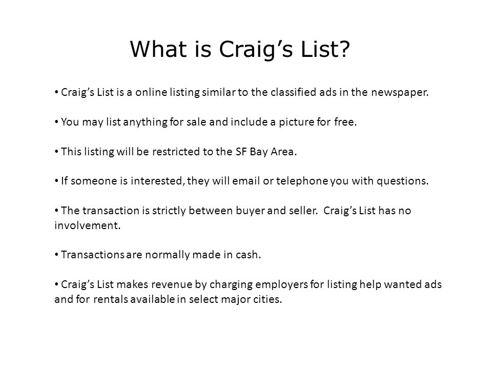 What is Craig's List.