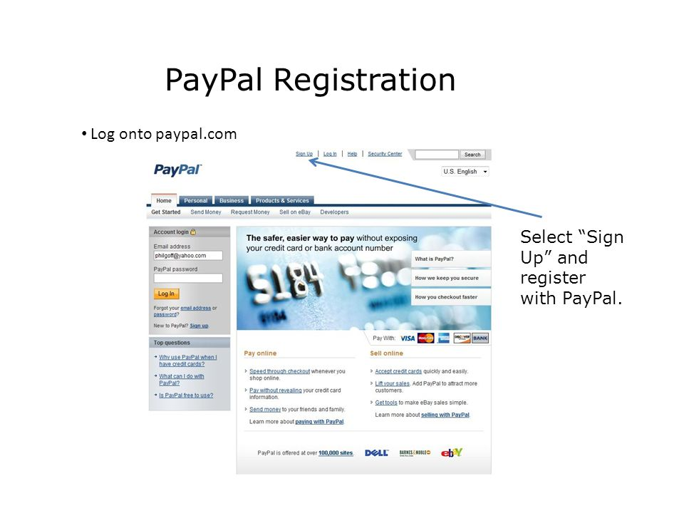 PayPal Registration Log onto paypal.com Select Sign Up and register with PayPal.