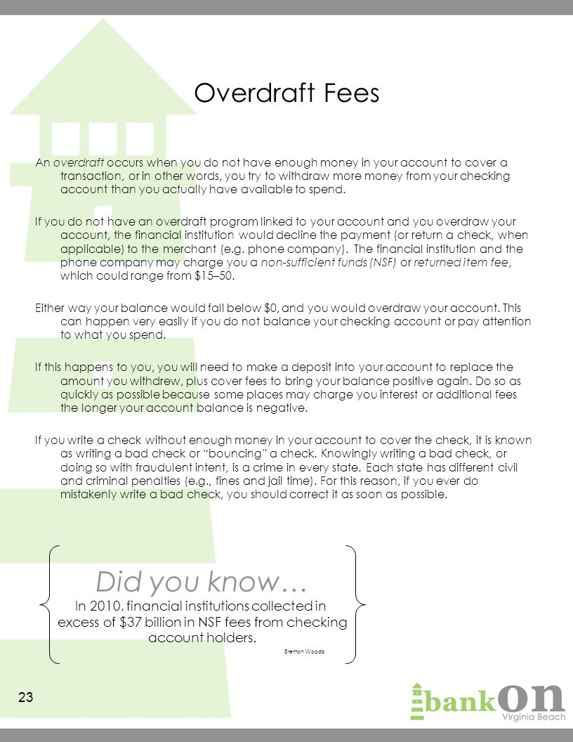 What happens if you overdraw your checking account?