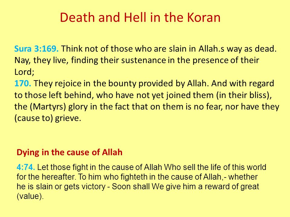 Death and Hell in the Koran Sura 3:169. Think not of those who are slain in Allah.s way as dead.
