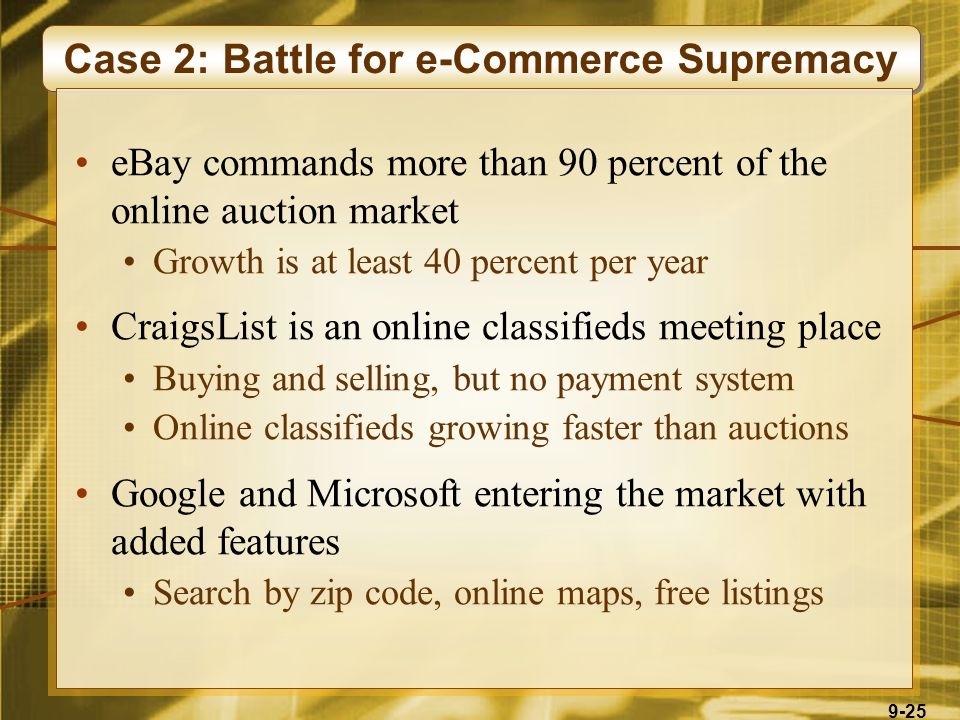 9-25 Case 2: Battle for e-Commerce Supremacy eBay commands more than 90 percent of the online auction market Growth is at least 40 percent per year CraigsList is an online classifieds meeting place Buying and selling, but no payment system Online classifieds growing faster than auctions Google and Microsoft entering the market with added features Search by zip code, online maps, free listings