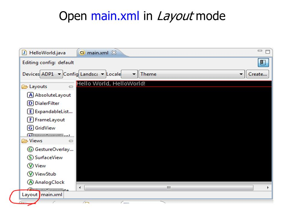 Open main.xml in Layout mode