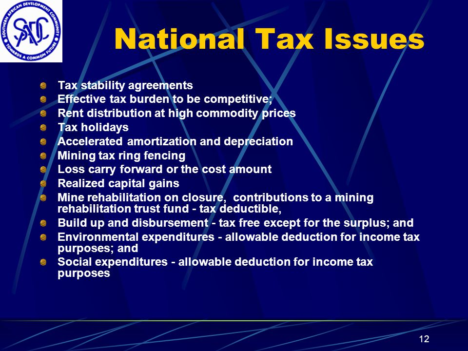 11 International Tax Issues Double taxation Withholding taxes Import duties Export duties Transfer-pricing