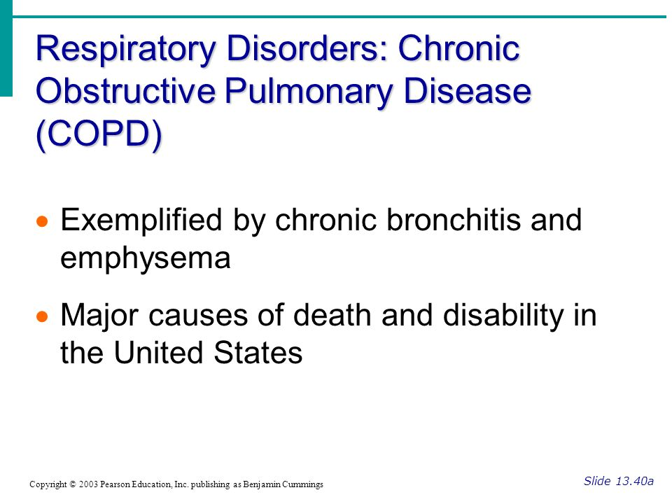 Respiratory Disorders: Chronic Obstructive Pulmonary Disease (COPD) Slide 13.40a Copyright © 2003 Pearson Education, Inc.