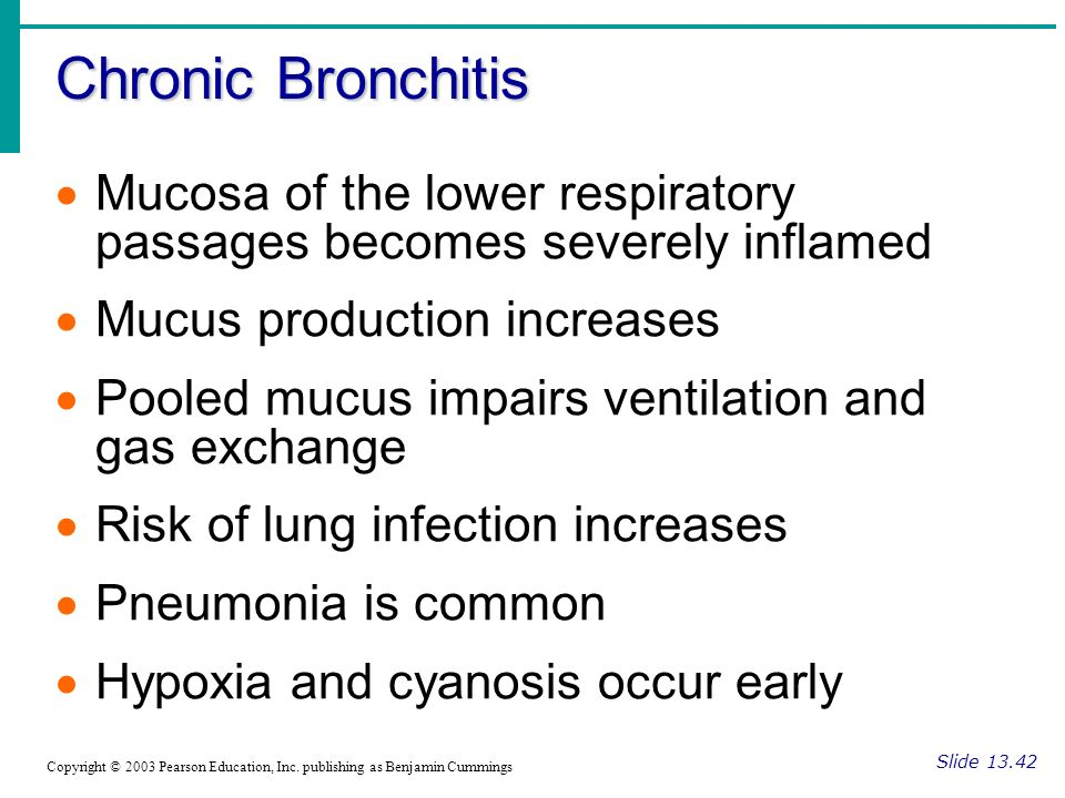 Chronic Bronchitis Slide Copyright © 2003 Pearson Education, Inc.