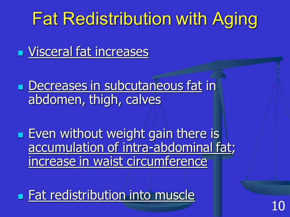 Fat Redistribution with Aging Visceral fat increases Visceral fat increases Decreases in subcutaneous fat in abdomen, thigh, calves Decreases in subcutaneous fat in abdomen, thigh, calves Even without weight gain there is accumulation of intra-abdominal fat; increase in waist circumference Even without weight gain there is accumulation of intra-abdominal fat; increase in waist circumference Fat redistribution into muscle Fat redistribution into muscle 10