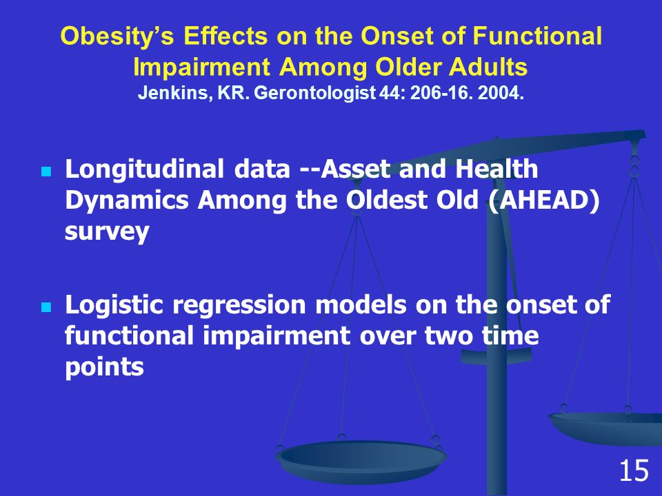Obesity's Effects on the Onset of Functional Impairment Among Older Adults Jenkins, KR.