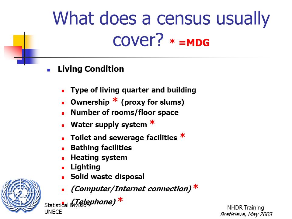 Statistical Division UNECE NHDR Training Bratislava, May 2003 What does a census usually cover.