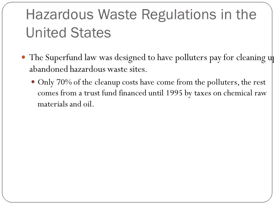 hazardous waste and clean up costs