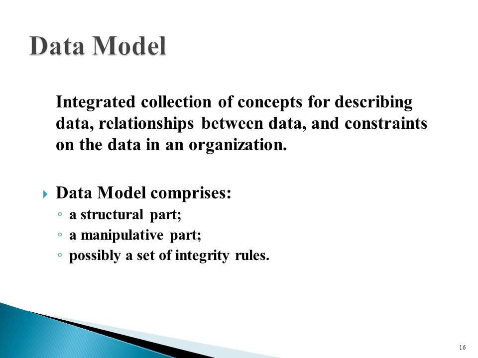 Integrated collection of concepts for describing data, relationships between data, and constraints on the data in an organization.
