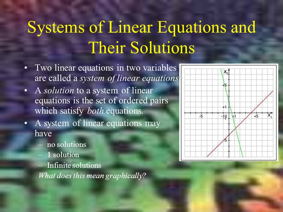 Systems of Linear Equations and Their Solutions Two linear equations in two variables are called a system of linear equations.