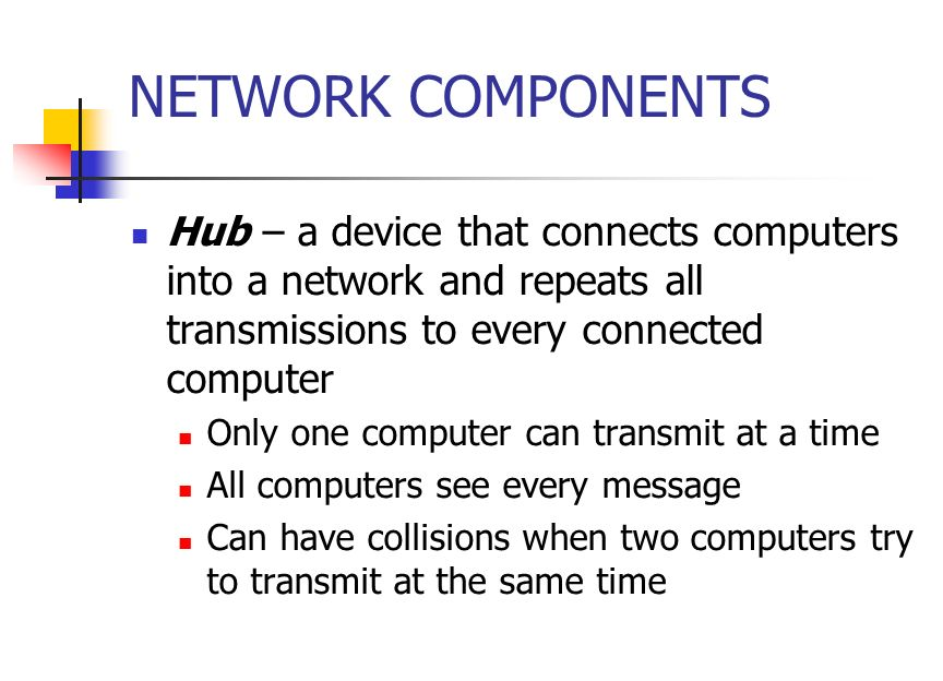 NETWORK COMPONENTS Hub – a device that connects computers into a network and repeats all transmissions to every connected computer Only one computer can transmit at a time All computers see every message Can have collisions when two computers try to transmit at the same time