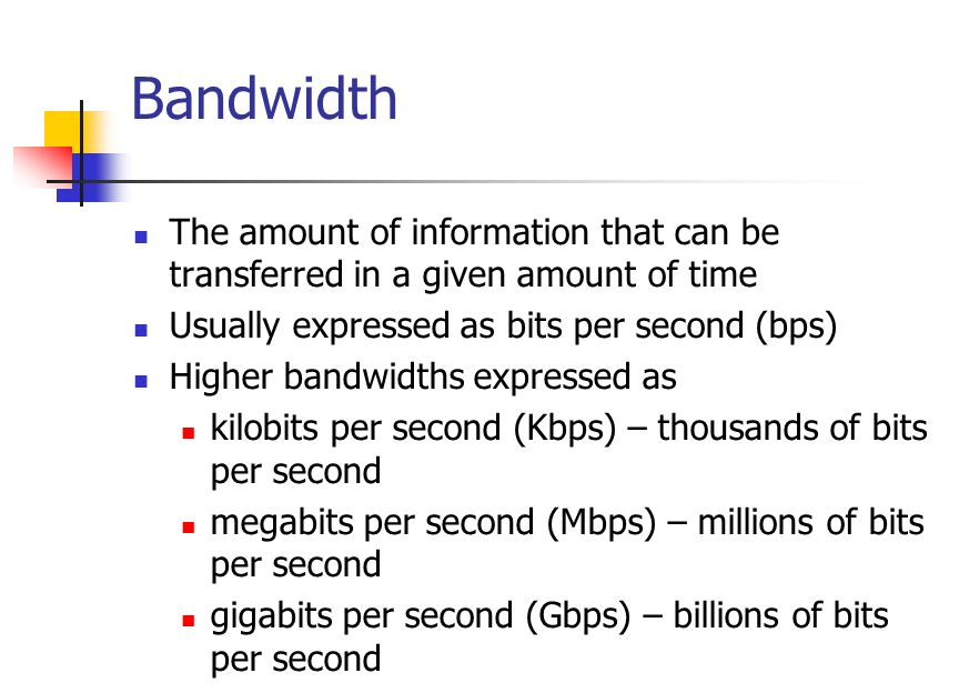Bandwidth The amount of information that can be transferred in a given amount of time Usually expressed as bits per second (bps) Higher bandwidths expressed as kilobits per second (Kbps) – thousands of bits per second megabits per second (Mbps) – millions of bits per second gigabits per second (Gbps) – billions of bits per second