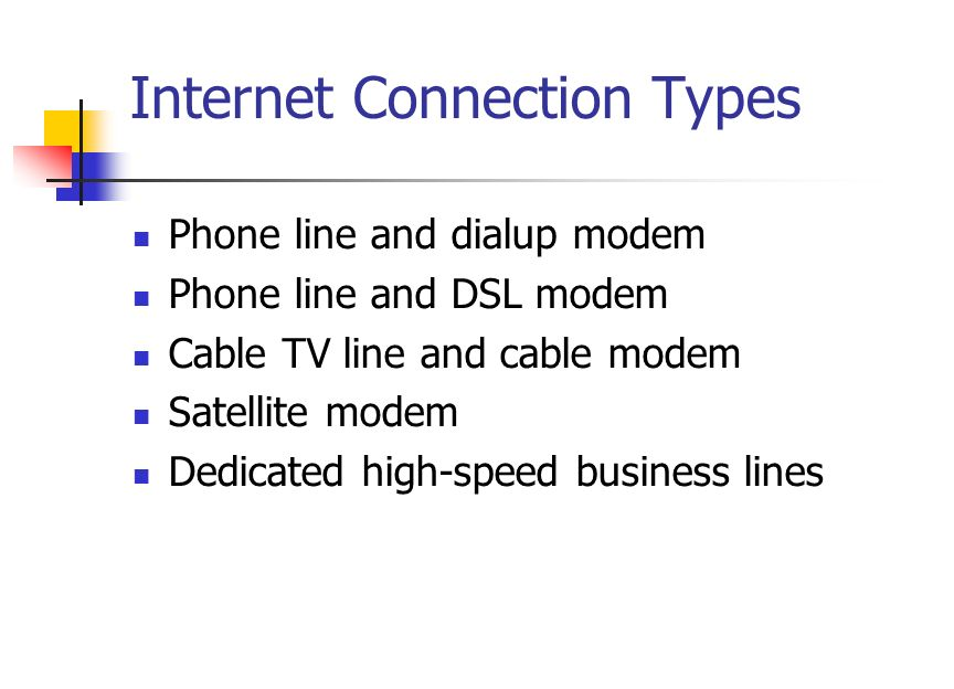 Internet Connection Types Phone line and dialup modem Phone line and DSL modem Cable TV line and cable modem Satellite modem Dedicated high-speed business lines