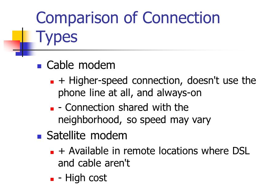 Comparison of Connection Types Cable modem + Higher-speed connection, doesn t use the phone line at all, and always-on - Connection shared with the neighborhood, so speed may vary Satellite modem + Available in remote locations where DSL and cable aren t - High cost