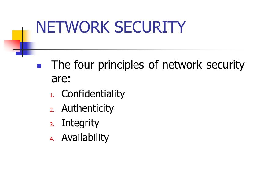 NETWORK SECURITY The four principles of network security are: 1.