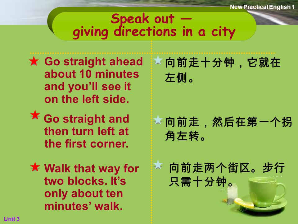 3. Do you know how to give directions in a city.