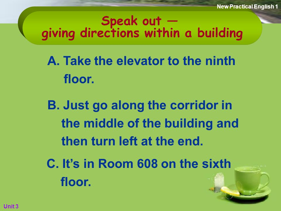Do you know how to give directions within a building.