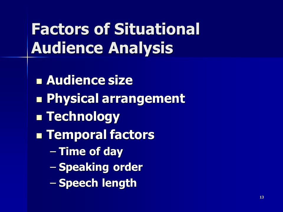 13 Factors of Situational Audience Analysis Audience size Audience size Physical arrangement Physical arrangement Technology Technology Temporal factors Temporal factors –Time of day –Speaking order –Speech length