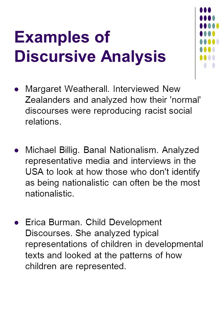 Examples of Discursive Analysis Margaret Weatherall.