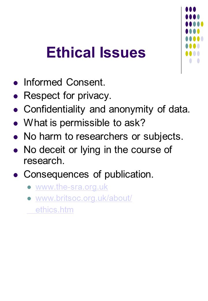 Ethical Issues Informed Consent. Respect for privacy.