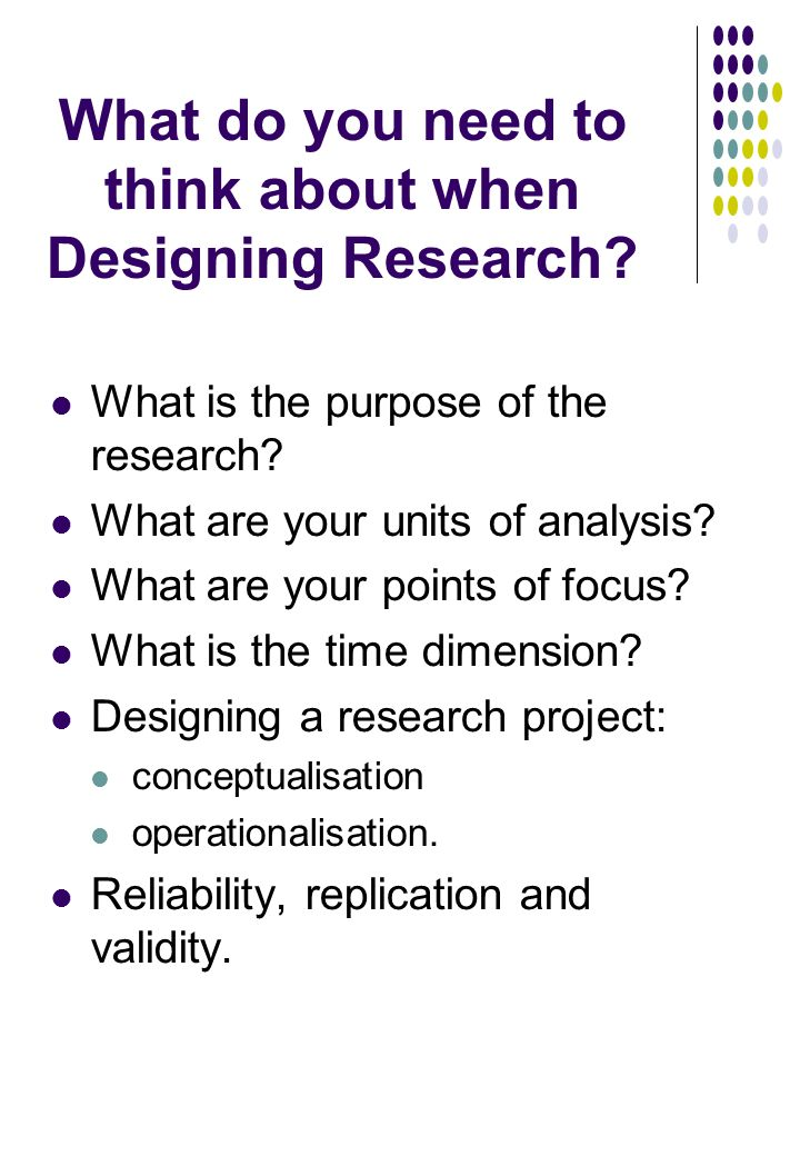 What do you need to think about when Designing Research.