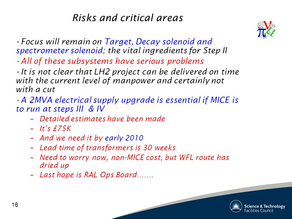 16 Risks and critical areas Focus will remain on Target, Decay solenoid and spectrometer solenoid; the vital ingredients for Step II All of these subsystems have serious problems It is not clear that LH2 project can be delivered on time with the current level of manpower and certainly not with a cut A 2MVA electrical supply upgrade is essential if MICE is to run at steps III & IV –Detailed estimates have been made –It's £75K –And we need it by early 2010 –Lead time of transformers is 30 weeks –Need to worry now, non-MICE cost, but WFL route has dried up –Last hope is RAL Ops Board…….