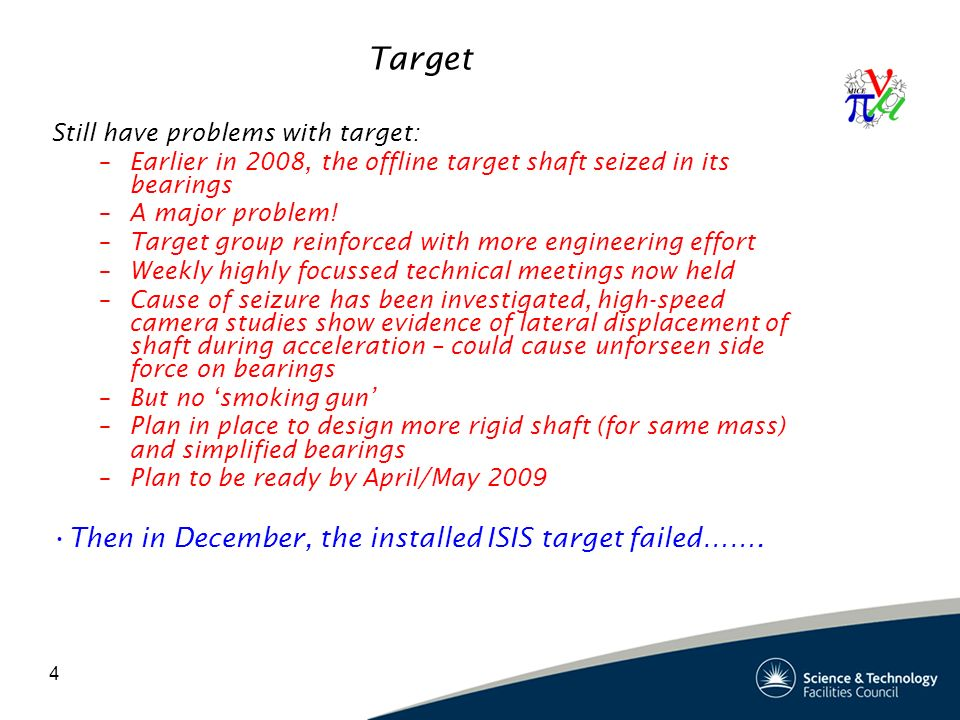 4 Target Still have problems with target: –Earlier in 2008, the offline target shaft seized in its bearings –A major problem.