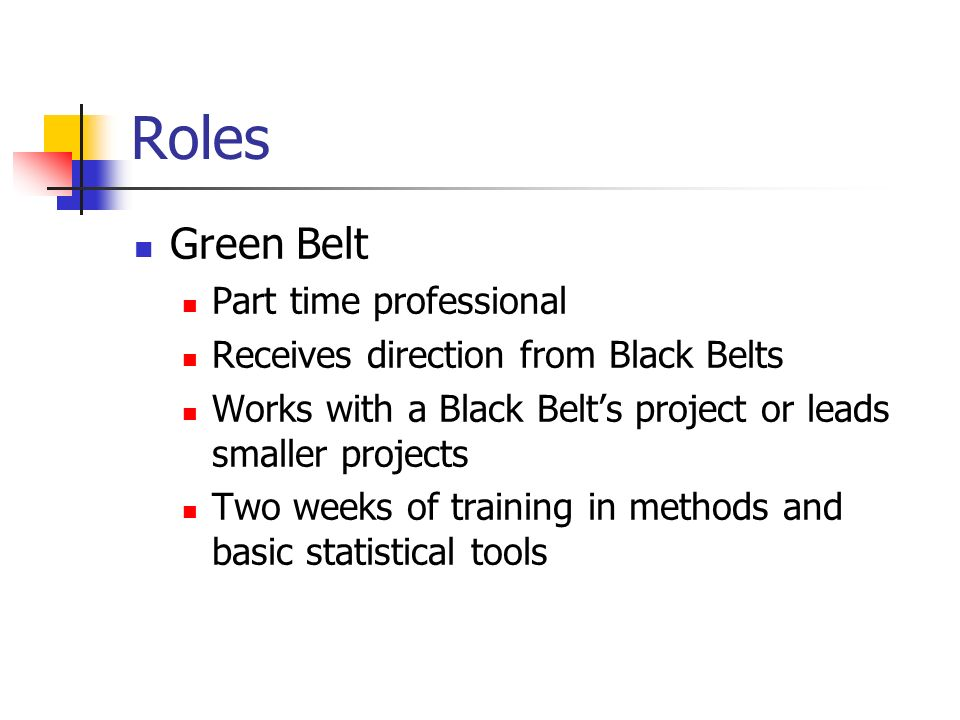 Roles Green Belt Part time professional Receives direction from Black Belts Works with a Black Belt's project or leads smaller projects Two weeks of training in methods and basic statistical tools