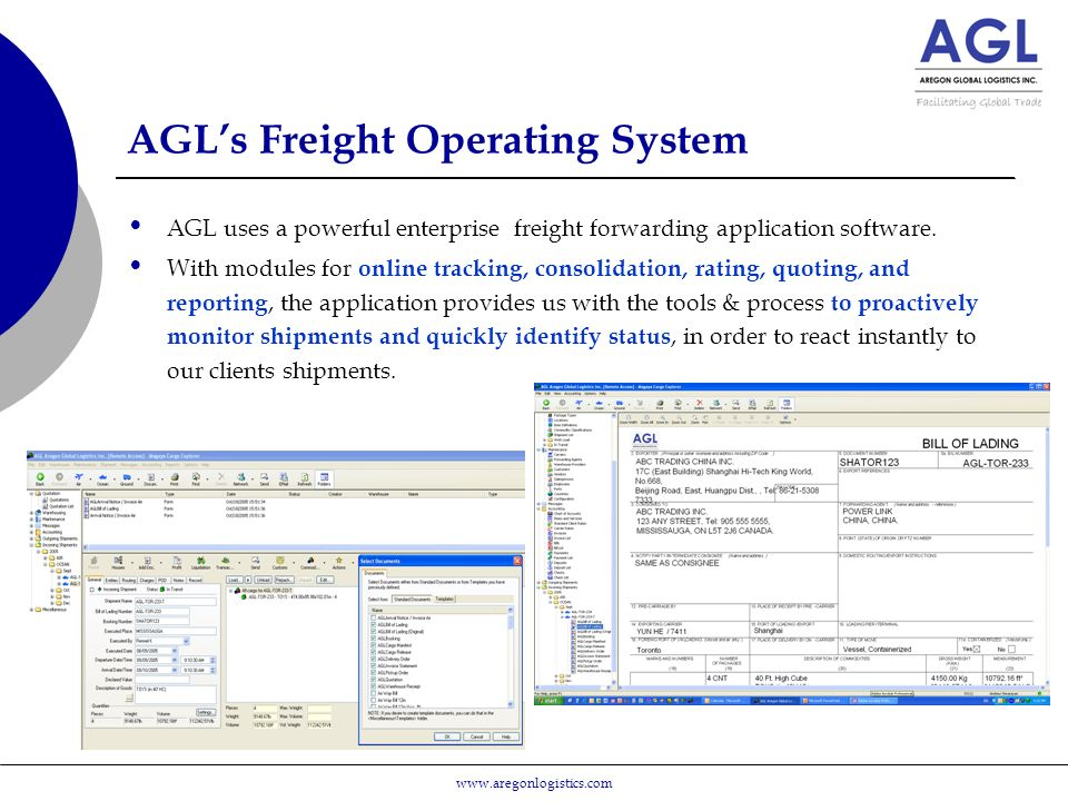 AGL's Freight Operating System AGL uses a powerful enterprise freight forwarding application software.