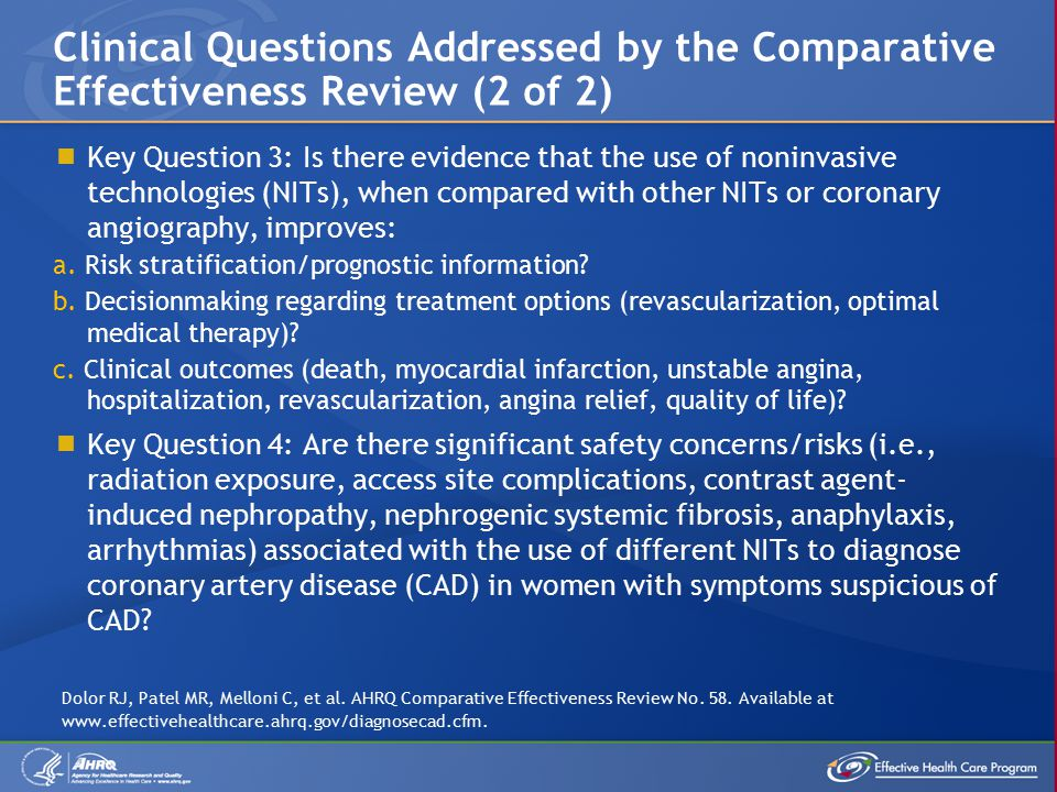  Key Question 3: Is there evidence that the use of noninvasive technologies (NITs), when compared with other NITs or coronary angiography, improves: a.