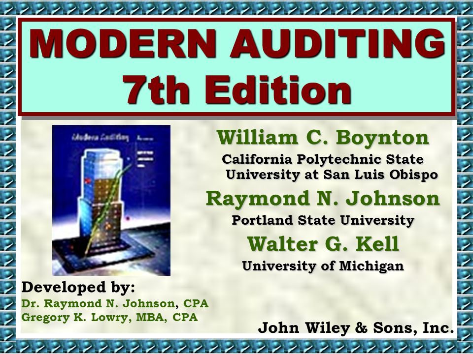 MODERN AUDITING 7th Edition William C.