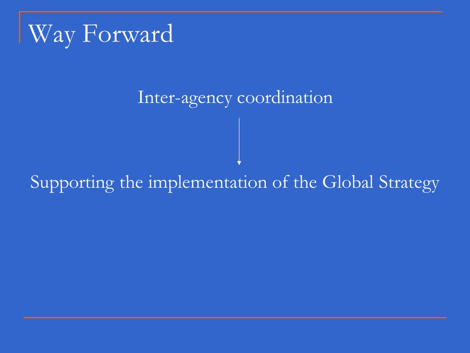 Way Forward Inter-agency coordination Supporting the implementation of the Global Strategy
